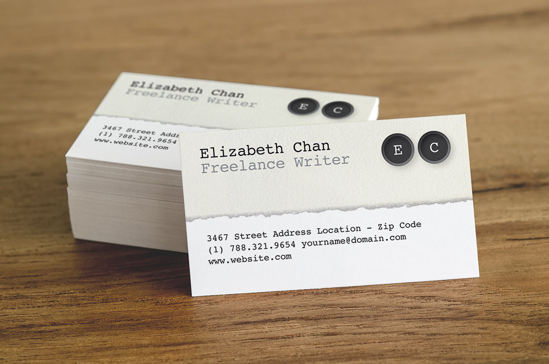 Business Card Template – Author / Writer | Rumble Design Store