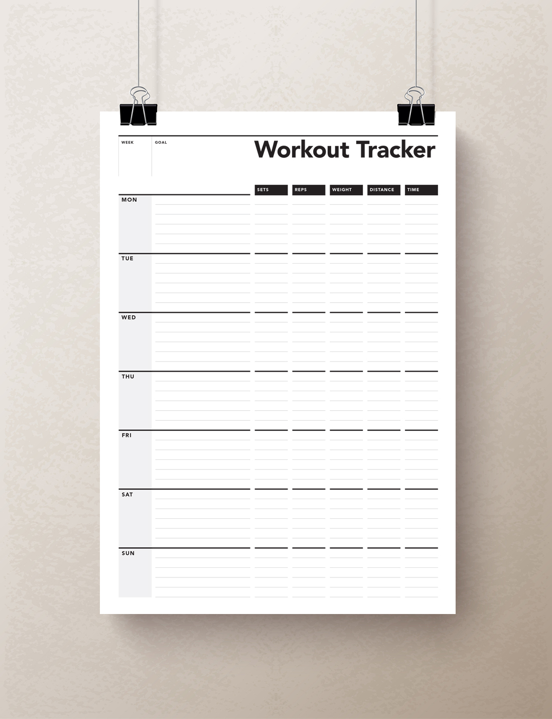 workout planner fitness journal exercise planner rumble design store